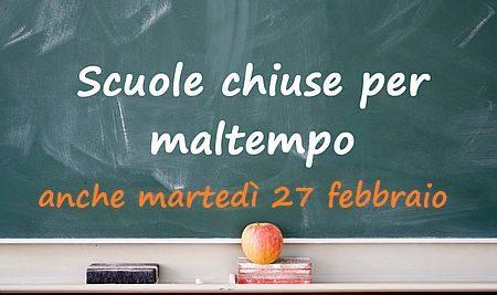 Scuola chiusa anche domani, martedì 27 febbraio